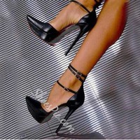 Shoespie Ankle Wrap Pointed-toe Platform Heels- Shoespie.com