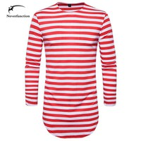 New Autumn Spring Men Round Neck Long Sleeve extended arc hem Striped T-shirt Slim Fit T Shirts Tees Tops Casual Male Homme
