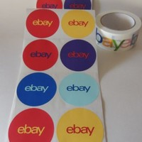 Assorted Colors Round eBay Branded Stickers and a Roll of ebay Tape