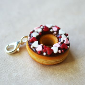 Valentine's Day Heart Spinkled Doughnut  Polymer Clay Charm or Key Chain