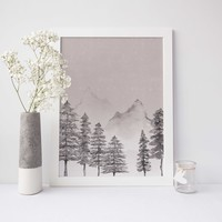 Rustic Modern Mountain + Forest Watercolor Wall Art Print