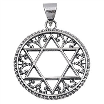 "Sterling Silver Filigree Star of David Pendant 28MM (Free 18"" Chain)"