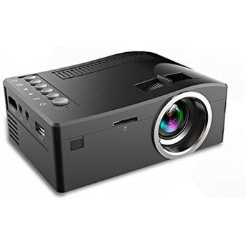 Fosa UC18 Mini Portable video Projector, Full HD 1080P LCD LED Home Theater Cinema Mini Portable Projector Support USB TV VGA SD AV Multi language, Great for Movie Nights and Video Games (Black)