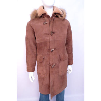 Vintage Shearling Duffle Coat made in California Mens Size 40 Antler buttons by Sawyer Sheepskin Coat