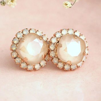 Ivory Earrings, Bridal Ivory Opal Earrings, Bridal Beige Crystal Earrings, Bridal Swarovski Ivory Crystal Earrings, Bridesmaids Earrings