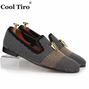 Gun color Gold Rhinestone Crystal Loafers Men Slippers Shark tooth pendant
