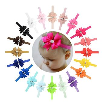 "20pcs/Lot 3"" Grosgrain Silver Ribbon Hair Bow Headbands Accessories Hairband Flower for Baby Girl Toddlers Kids Children"