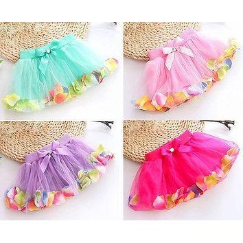 Lovely Newborn Toddler Infant Girls Baby Kids Dress For Girl Bow Petals Tutu Princess Party Dress 4Colors 5-7Y