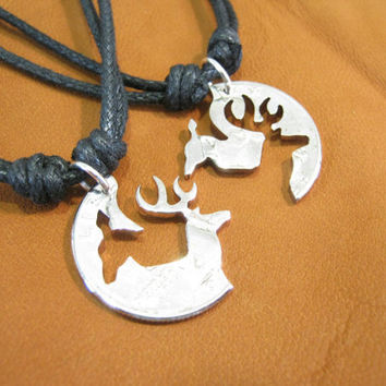 Buck and Doe Necklace,interlocking quarter, cut coin for those in love