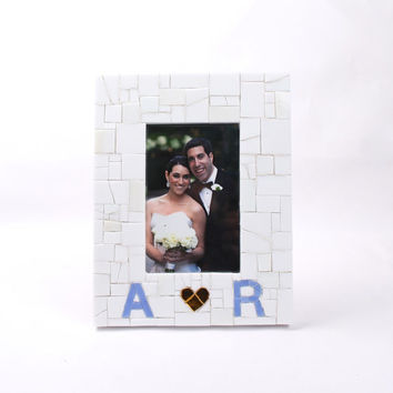 Custom Engagement Gift for Couple, Picture Frame w Initials & Heart - 4x6 5x7 8x10
