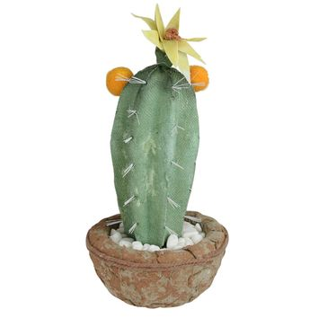 """12"""" Southwestern Style Green Potted Artificial Cactus with Flowers"""