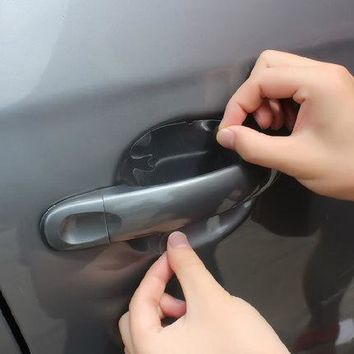 Car styling TOPDECOR Sticker 4 PCS 8.5cm*9.5cm Universal Invisible Car Door Handle Protection Film Exterior Sticker Decals