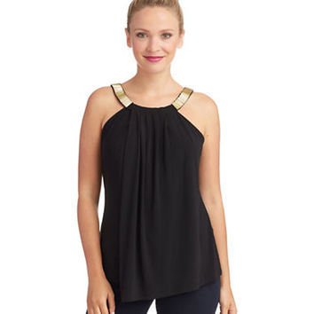 Chelsea & Theodore Beaded Neck Sleeveless Top