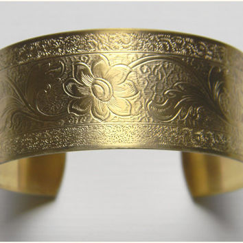 Raw Brass Flower Floral Leaf Victorian Style Cuff Bracelet - 1 pc.