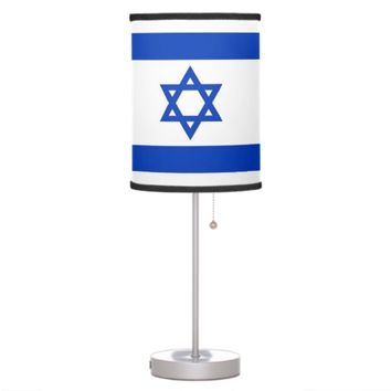 Patriotic table lamp with Flag of Israel