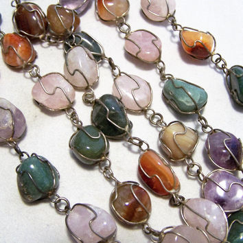 Wire Wrapped Caged Polished Stone 39in Necklace, Agate Quartz Carnelian Amethyst Green Aventurine, Vintage Jewelry,Boho Tribal Style  1116