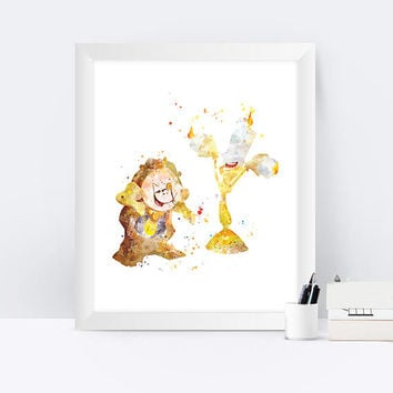 Cogsworth and Lumiere Print Watercolor Beauty and the Beast Printable Disney Poster instant Download Gift Nursery Kids Home Decor