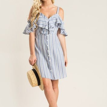 Elena Blue Stripe Cold Shoulder Dress