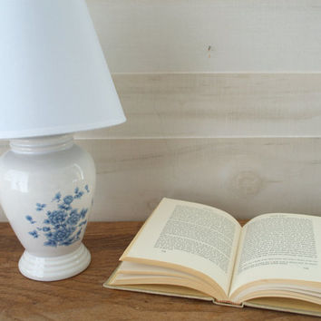 Small White Table Lamp, Blue and White Ceramic Lamp, Chintz Urn Bedside Table Lamp, Shabby Chic Floral Lamp