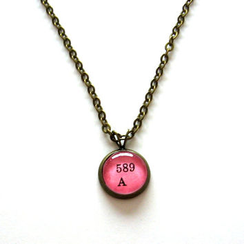 Limited Edition Hot Pink Neon Dewey Decimal Mini Pendant Librarian Brass Setting Library Card Necklace