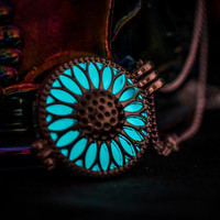 Glowing Necklace , Glowing Locket , Glow in the dark necklace  , Sunflower Necklace , Women Necklace , Glow in the dark jewelry