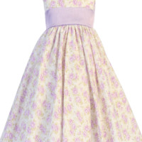 Lilac Floral Print Cotton Dress with Lilac Poly Shantung Sash & Trim (Baby 3 months - Girls Size 10)