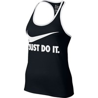 Nike Swoosh ''Just Do It'' Dri-FIT Scoop Neck Racerback Workout Tank - Women's, Size: