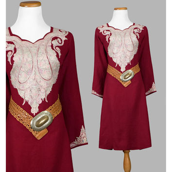 1970s Tunic Dress, 70s Embroidered Dress, Cranberry Red Wool Indian Dress, Long Sleeve Ethnic Embroidery Boho Bohemian Hippie Festival Dress