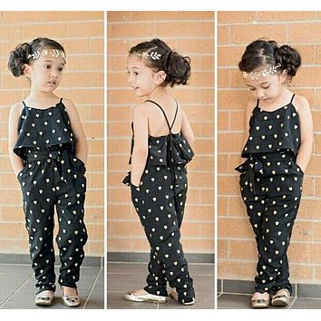 New Fashion baby girl  sling clothes girl strap heart-shaped jumpsuit set kids clothes