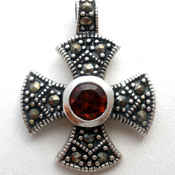 Sterling Silver Garnet Maltese Cross Pendant