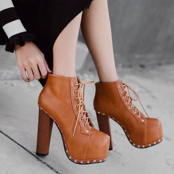 Fashion Personality Rivet Square Head Platform Rough With Heels Shoes Women Ankle Boots