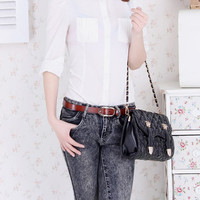 Alloy Buckle Plain Leather Belt,Cheap in Wendybox.com
