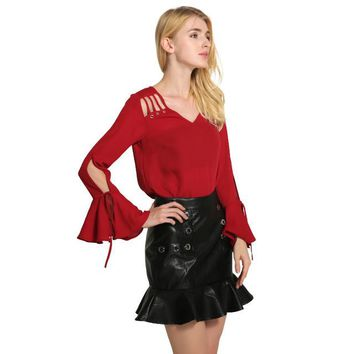 Butterfly Sleeve Cut Out Blouse