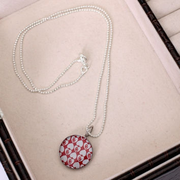 Oklahoma Sooners Dayna U Women's Stainless Repeating Hearts Pendant Necklace - http://www.shareasale.com/m-pr.cfm?merchantID=7124&userID=1042934&productID=549962085 / Oklahoma Sooners