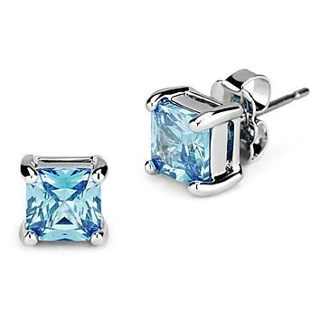 1.3CT Princess Cut Blue Sky Aquamarine Stud Earrings