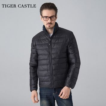 TIGER CASTLE Winter Ultralight Black Down Jacket And Coat Stand Collar Basic College Jacket Casual Warm Male Windbreaker