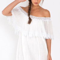 White Off-the-Shoulder Lace Panel Dress