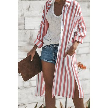 Red Turtle Striped Bay Pocketed Duster Cardigan