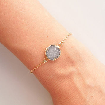 Gold Druzy Bracelet in Greyish Blue