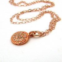 Rose gold pave diamond necklace, rose gold jewelry, rose gold diamond necklace, pink gold diamond pave disc pendant, tiny drop pendant