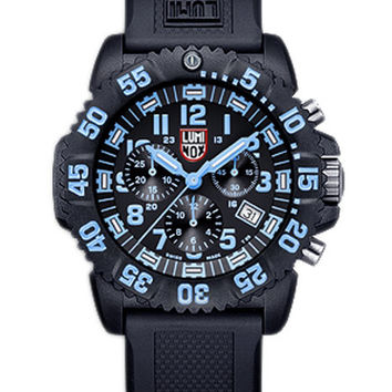 Luminox Mens Colormark Chrono - Black Dial & Blue Accents - Black Rubber Strap