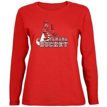 ESBGQ9 Fast Hockey Player Country Canada Womens Long Sleeve T Shirt