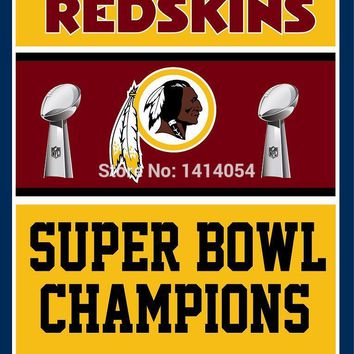 Washington Redskins Super Bowl Champions Flag 150X90CM Banner 100D Polyester3x5 FT flag brass grommets 001, free shipping