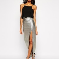 TFNC Maxi Dress With Metallic Skirt & Thigh Split