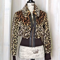 Leopard jacket  / 90s faux fur crop jacket / lightweight / Candies / boho / retro / hip hop / grunge / size XS S