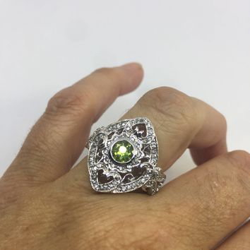 Vintage Handmade Genuine Green Peridot Filigree Setting 925 Sterling Silver Gothic Ring