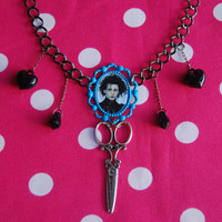 EDWARD SCISSORHANDS NECKLACE  blue cameo with by NenaSideral