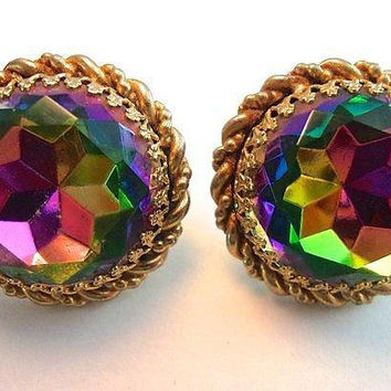 SCHIAPARELLI Earrings Watermelon Large Round, Gold Rope Trim, Exquisite Vintage