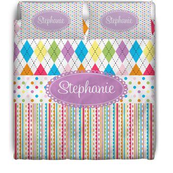 Argyle & Dots Monogrammed / Personalized Duvet Cover or Comforter Set