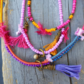 Gypsy Bohemian Multi strand Tassel beaded Necklace